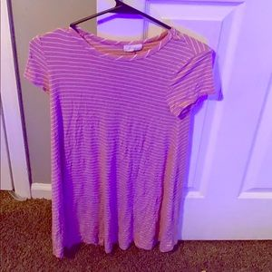 A light pink and white striped dress